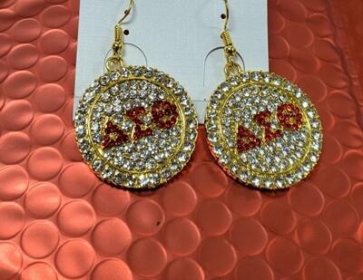 Earrings - Bling Disk Red Symbol