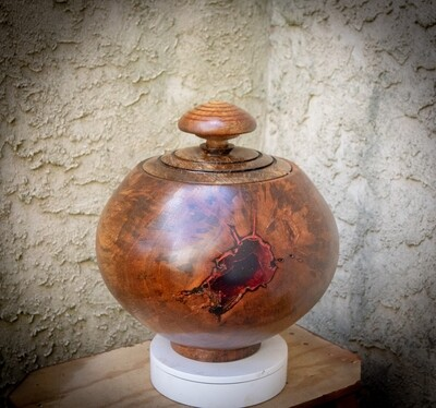 Huge wood turned, carved,inlayed lidded mango wood bowl container.