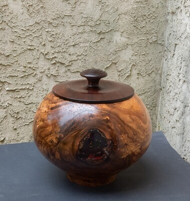 Unique hand turned, carved inlayed lidded bowl container