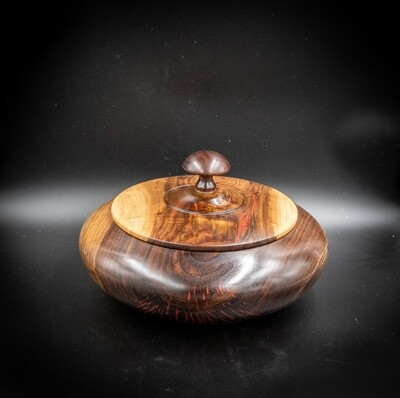 Unique Handmade Turned ,Carved, Inlayed  Wooden walnut crotch  lidded bowl 1523