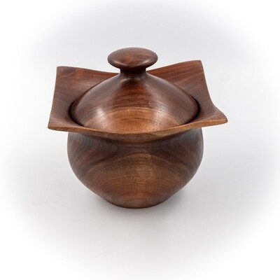 Unique Turned Lidded Wooden Bowl Container Box Walnut