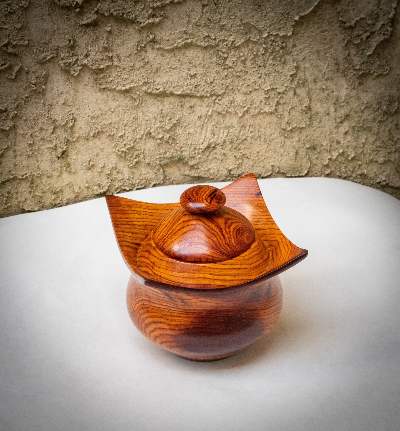 Unique Turned Lidded Wooden Bowl Container Box Eastern Rosewood