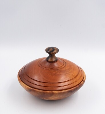Unique Turned Lidded Wooden Bowl Container camphor wood mahogany