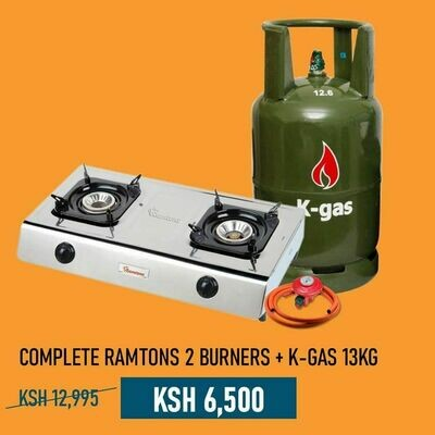 Complete Ramtons 2 Burners Cooker with 13kg K-Gas Cylinder