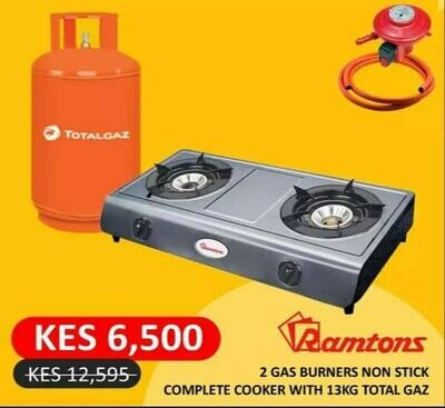 RAMTONS 2 Gas Burners, Non Stick Complete Cooker with 13Kg TOTAL Gas + Free LPG Gas Pipe & Gas Regulator