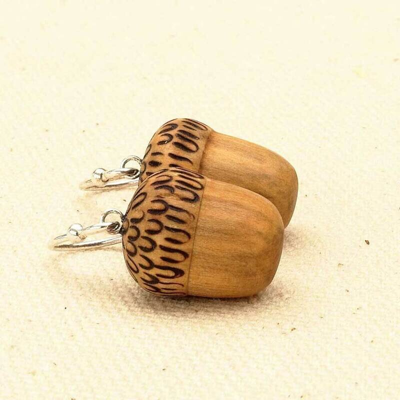 Acorn Earrings with Stirling Silver Hooks