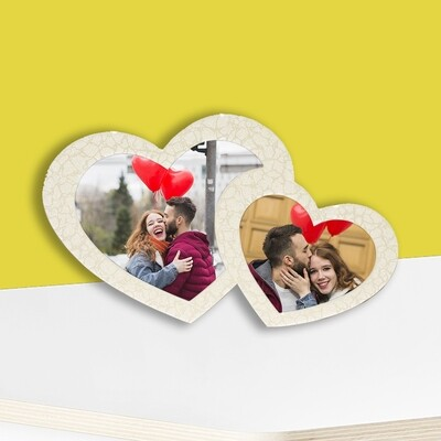 Double Heart Globulite MDF With Easel Stand + Photo on Aluminium Panel