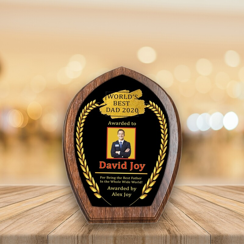 Personalised Plaque Award For Dad- Leaves Medal Walnut Wood- Custom Printed on Aluminium Panel- Best Gift For Dad