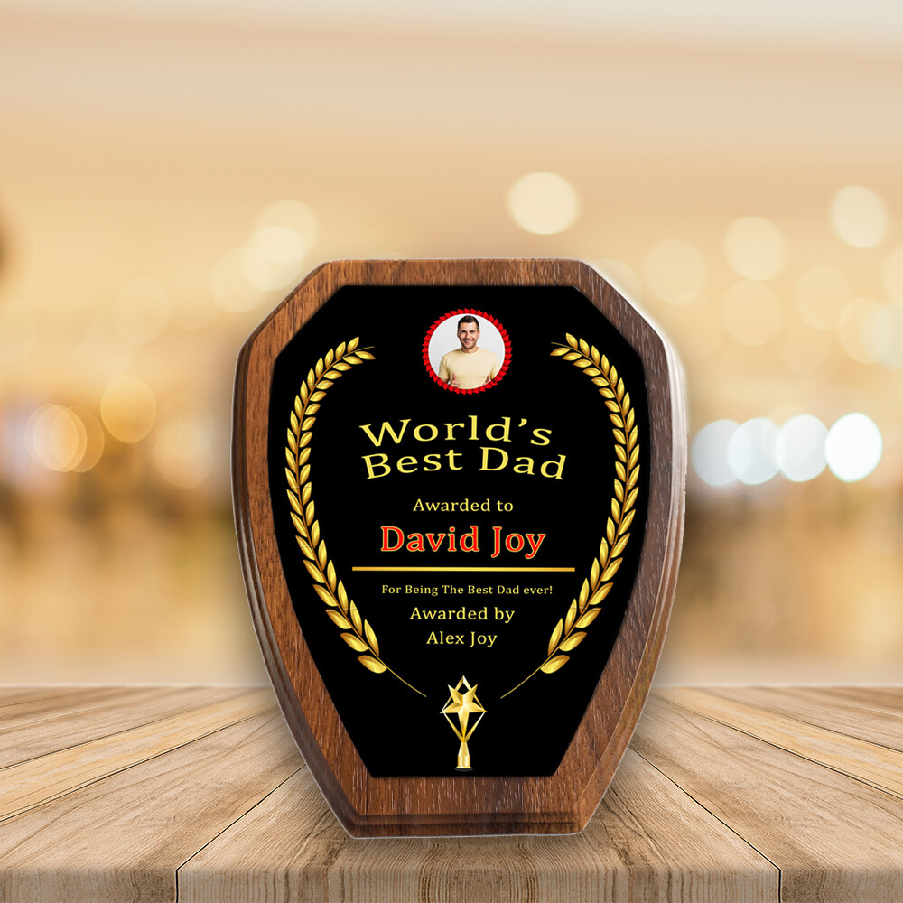 Personalised Plaque Award For Dad- Walnut Wood Three Prisms Medal- Custom Printed on Aluminium Panel- Best Gift For Dad
