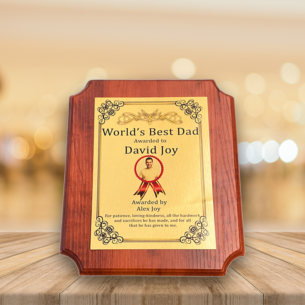 Personalised Plaque Award For Dad- Applewood Octagon Medal- Custom Printed on Aluminium Panel- Best Gift For Dad