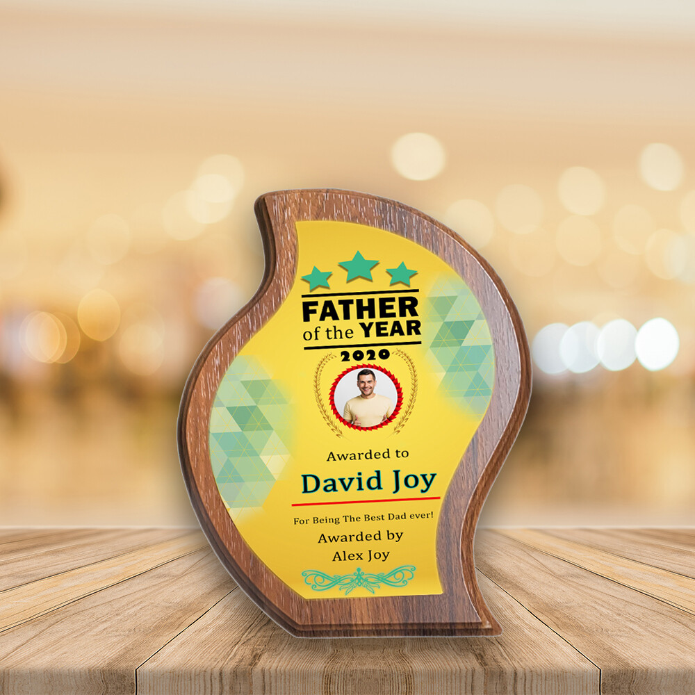 Personalised Plaque Award For Dad- Walnut Wood Water Drop Medal- Custom Printed on Aluminium Panel- Best Gift For Dad