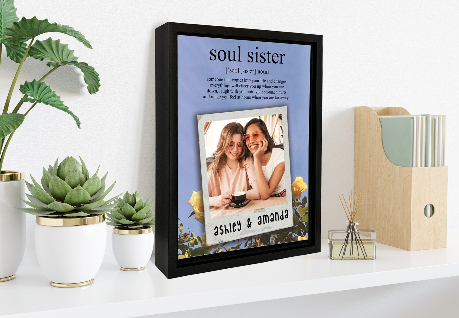 Soul Sister Gift|Best Friend Photo Gift| Personalised Box Photo Frame | Custom Best Friends Photo Printed On Aluminum