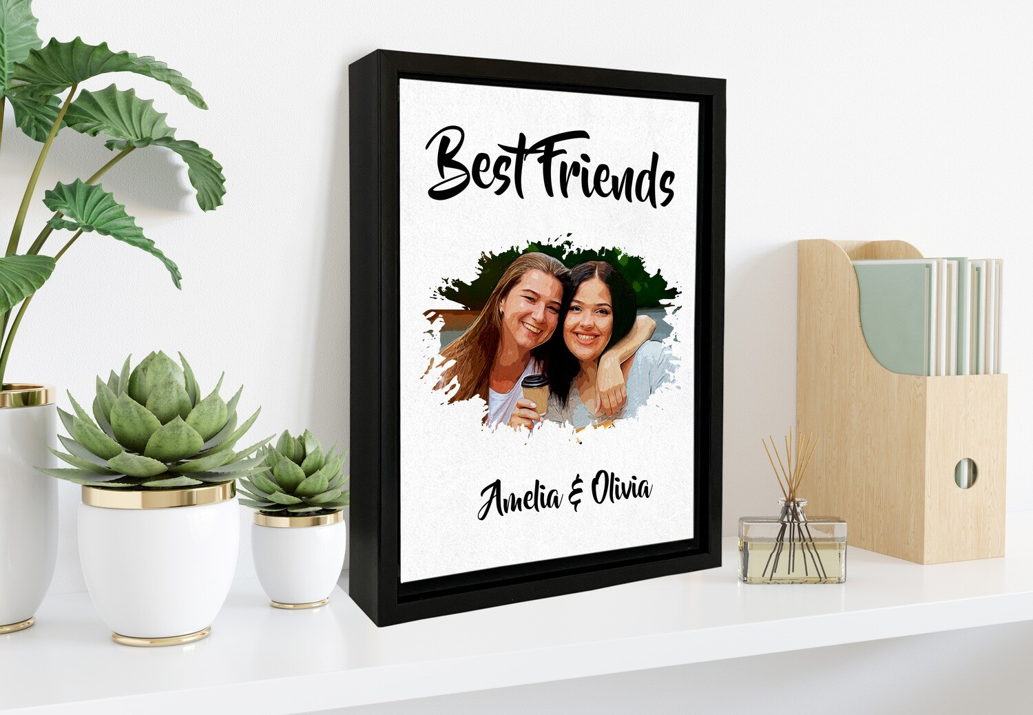 Portrait From Photo|Custom Water-Colour Print| Personalised  Box Photo Frame | Custom Best Friends Photo Printed On Aluminum