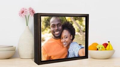Desktop Box Frame+Photo on Aluminum Panel- Wood or Black Colour