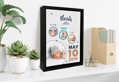 Baby Boy Birth Announcement| Newborn Announcement| Personalised Baby Print| Birth Stat Print Photo Frame |Custom Photo Printed On Aluminum