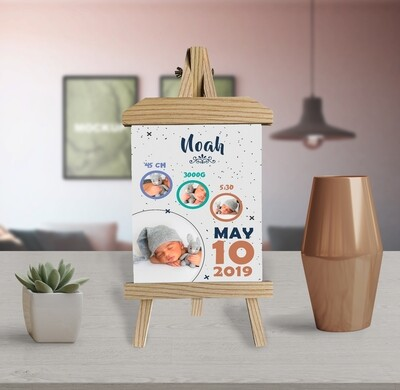 Personalised Birth Announcement |New Mum Gift| Baby Boy Gift | Custom Photo Printed On Aluminum | Wooden Easel