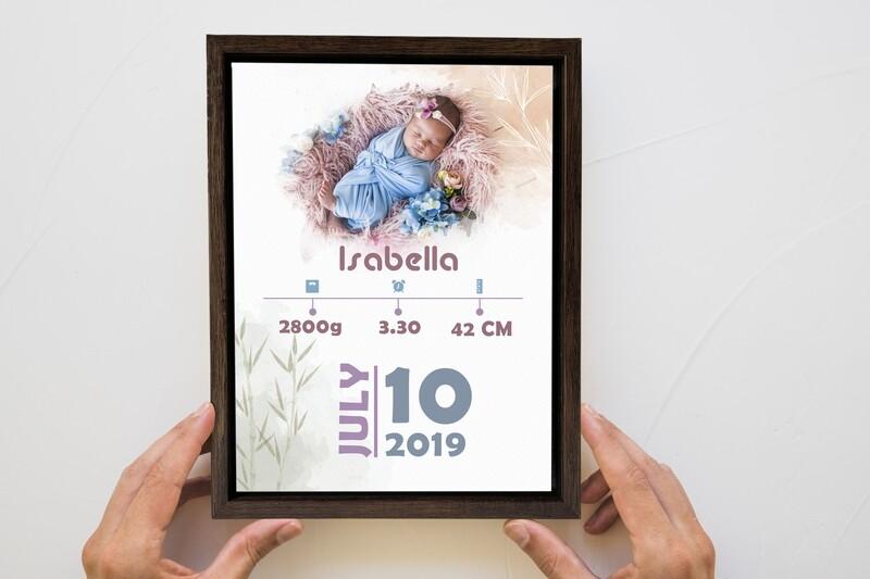 Newborn Announcement  Personalised Baby Print  Birth Stat Print Photo Frame  Custom Photo Printed On Aluminum