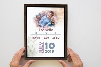 Newborn Announcement| Personalised Baby Print| Birth Stat Print Photo Frame |Custom Photo Printed On Aluminum