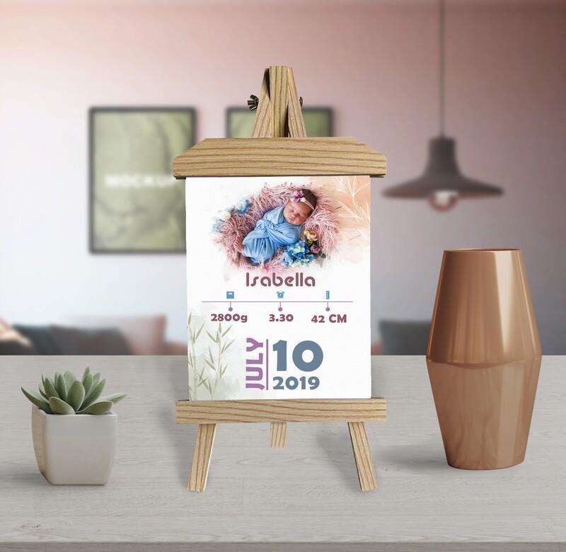 Newborn Announcement  New Mum Gift  Birth Stat Print Photo Frame   Custom Photo Printed On Aluminum   Wooden Easel