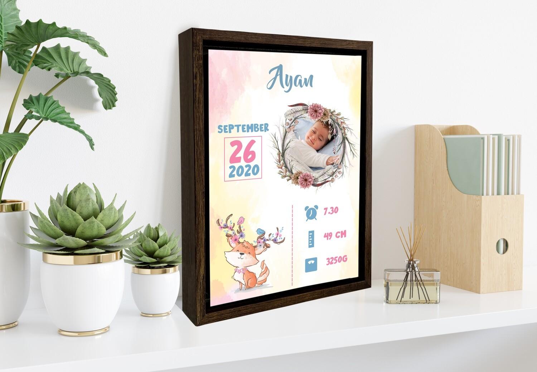 Baby Birth Announcement Print| Newborn Baby Gift| Birth Stat Print Photo Frame | Custom Photo Printed On Aluminum