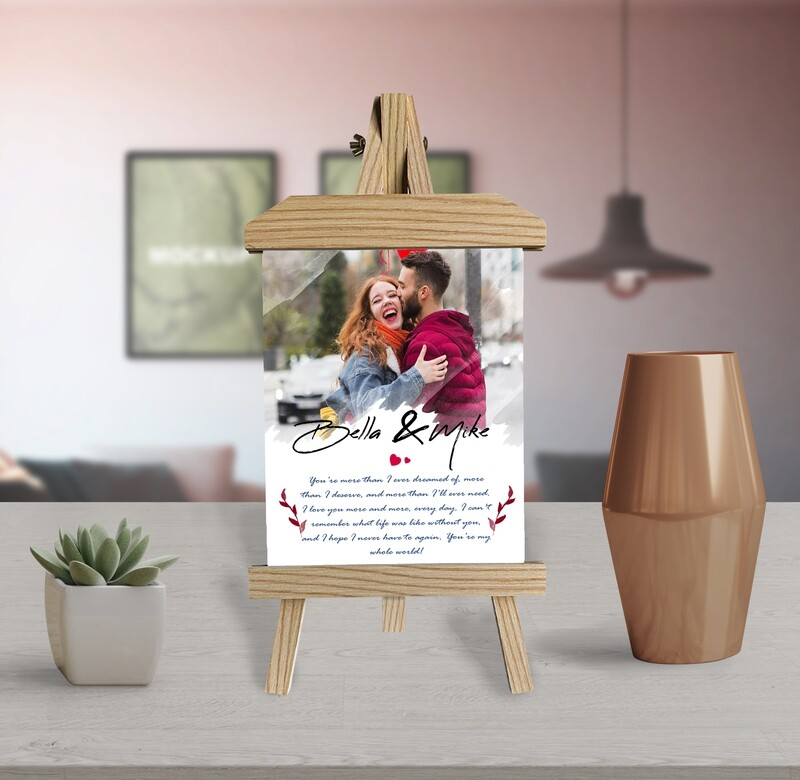 Personalized Gift For Him Personalised Couple Photo Printed On Aluminum  Anniversary Gift For Him  Gift For Couple Wooden Easel Frame