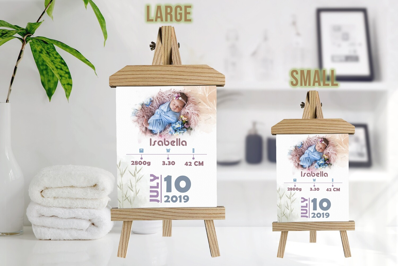 Newborn Announcement |New Mum Gift| Birth Stat Print Photo Frame | Custom Photo Printed On Aluminum | Wooden Easel