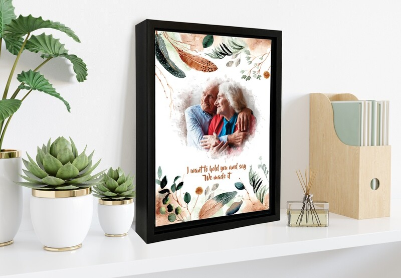 Wedding Gift For Parents Personalised Couple Portrait  Anniversary Gift For Grand parents Gift For Couple  Custom Photo Printed On Aluminum Custom Box Frame