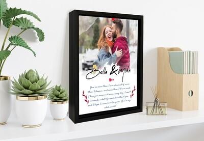 Custom Anniversary Gift Photo Frame|Personalised Couple Photo Printed On Aluminum |Anniversary Gift For Him| Gift For Couple| Custom Box Frame