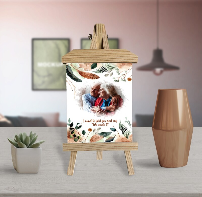 25th Anniversary Gift Photo Frame Personalised Couple Photo Printed On Aluminum  Anniversary Gift For Him  Gift For Couple Wooden Easel Frame