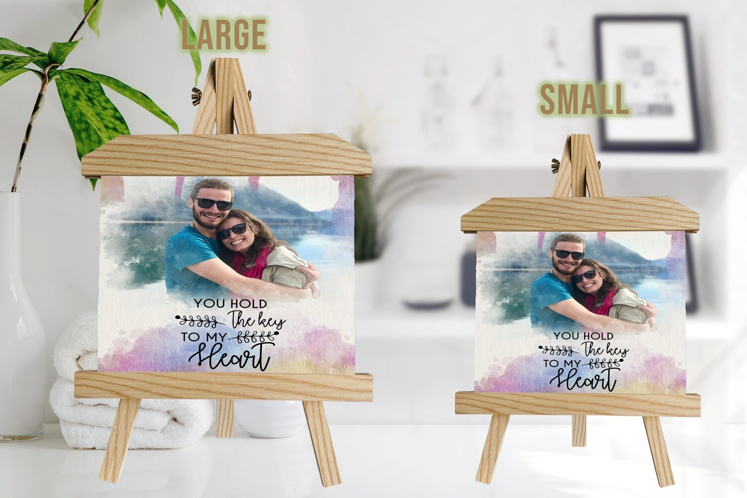 Personalised Valentine's Day Photo Gift  Personalised Valentine's Day  Photo Printed On Aluminum  Valentine's Day Gift For Him/Her  Gift For Couple Wooden Easel Frame