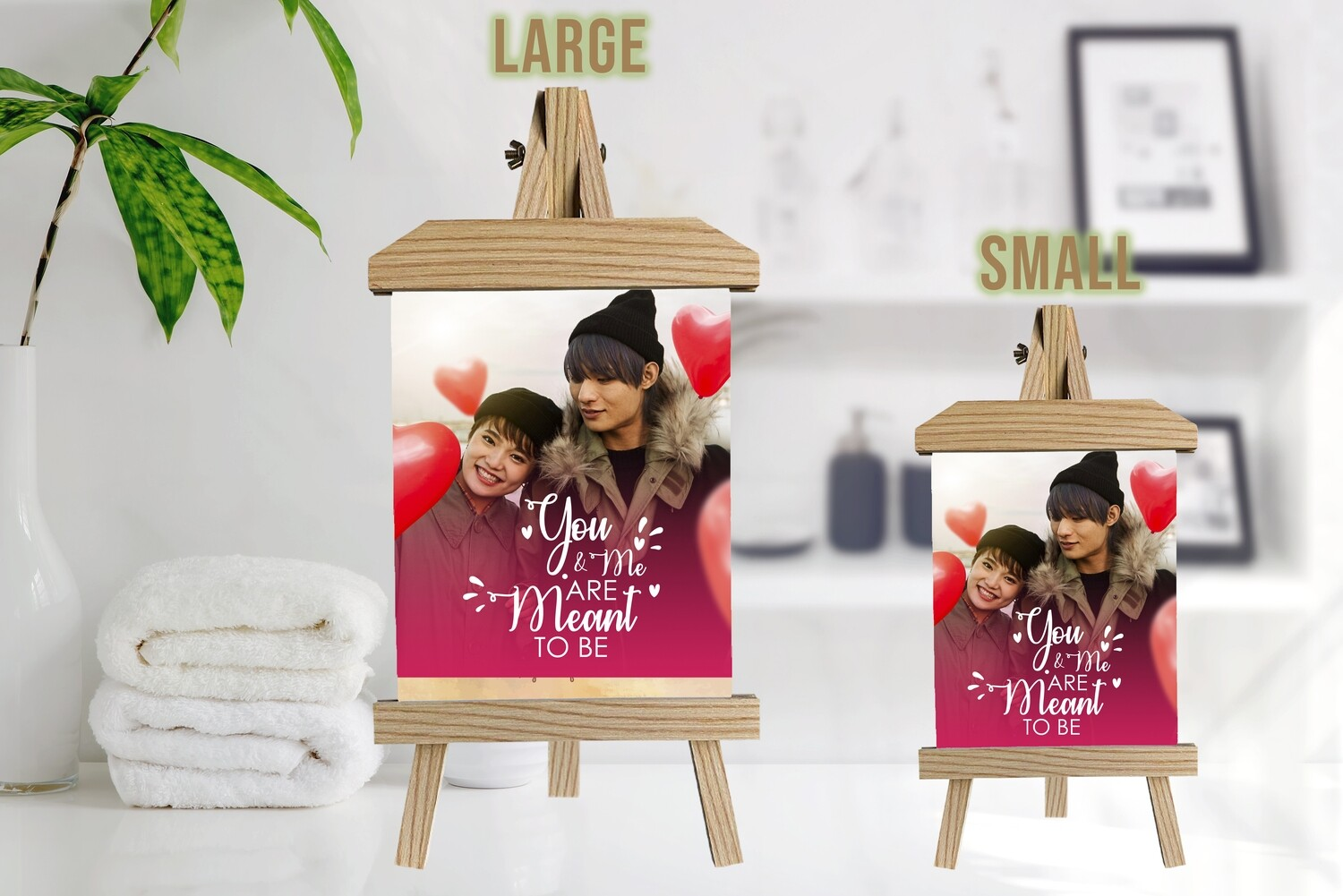 Personalised Valentine's Day Photo Gift |Personalised Valentine's Day  Photo Printed On Aluminum |Valentine's Day Gift For Him/Her| Gift For Couple|Wooden Easel Frame