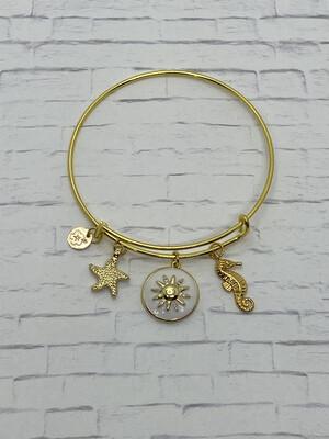 Gold El Sol White Bracelet