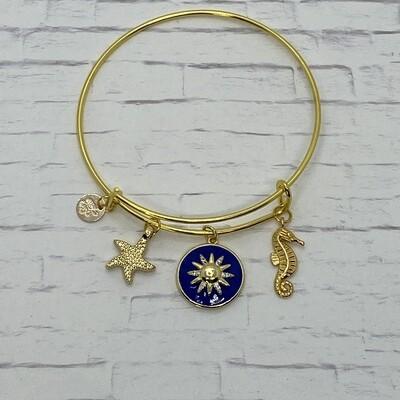 Gold El Sol Blue Bracelet