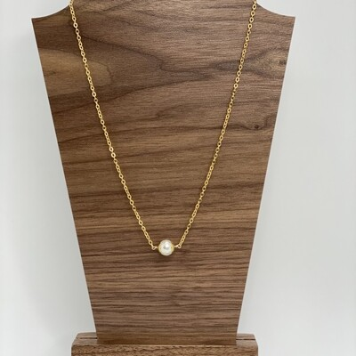 Gold Glass White Circle Necklace 16
