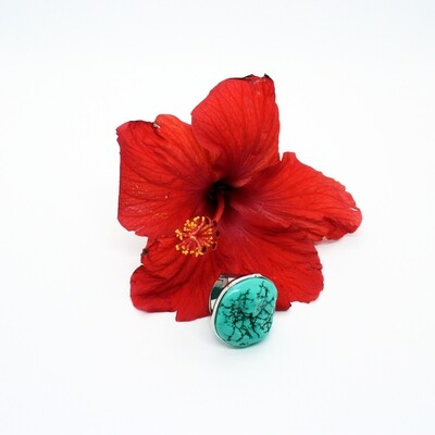 Silver Turquoise Adjustable Ring
