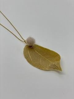Pom Pom Leaf Necklace
