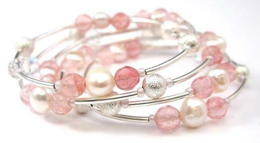 Freshwater Pearls, Tourmaline, Pink Quartz Multi-Strand flexible handmade Bracelet - Angelica