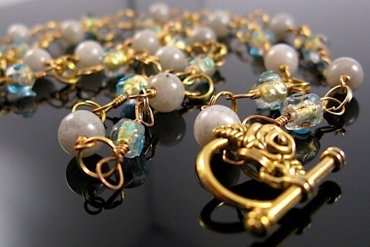 Aquamarine, Gold Foil & Labradorite Gemstone Necklace handmade UK