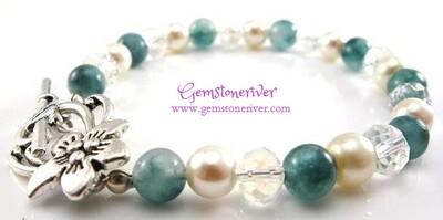Cream Crystal Quartz & Green Jade Gemstone Bracelet Earring SET