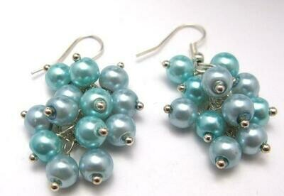E344 Chunky Bold Statement Earrings NIGELA Light Blue, Turquoise Blue Pearl Cluster Statement Dangle Cascade Jewellery- Bridesmaids Prom Party