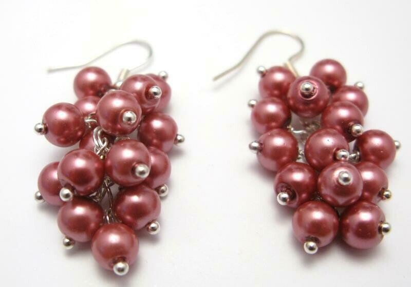 E104 - Powder Rose Pearl Cluster Drop chunky Earrings handcrafted uk