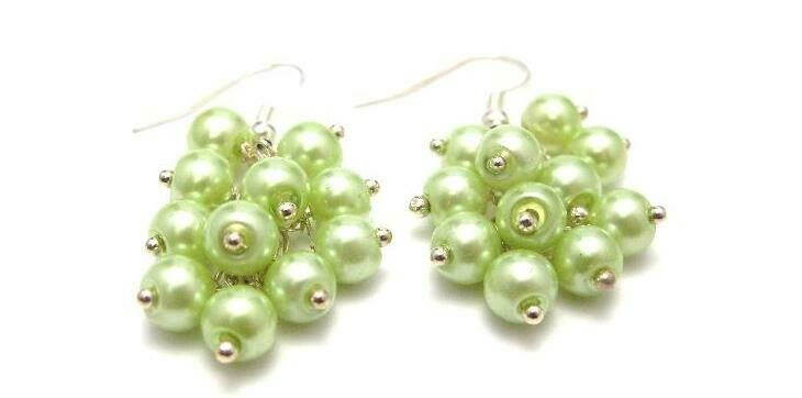 E271 Apple Lime Green Pearl Cluster Earrings - bridesmaid wedding Gemstoneriver UK handmade