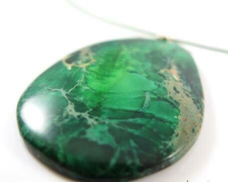 Gemstone Pendant Deep Forest Green and Golden Freckles Unique Agate Cabochon necklace UK