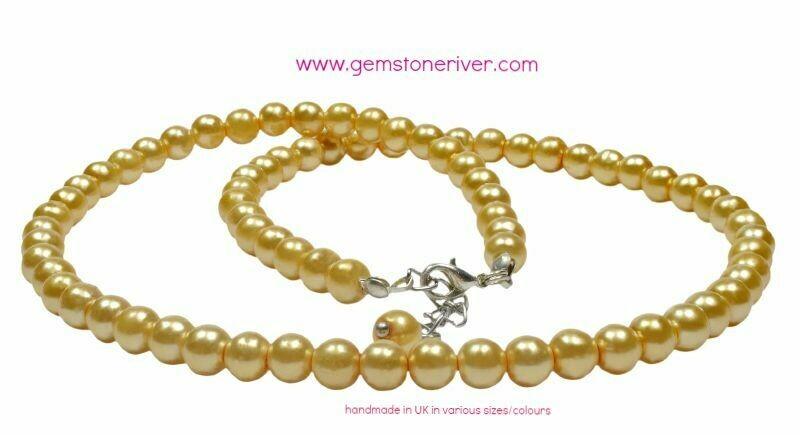 Lemon Yellow pearl Necklace Bracelet & Earrings