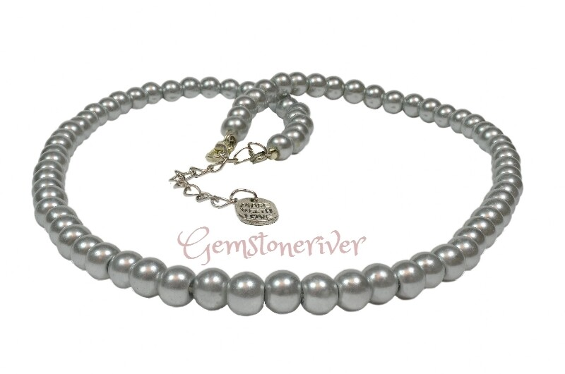 Delightful & Elegant Classic Silver Grey Pearl necklace and earrings set gift for Mother bridesmaid UK| Gemstoneriver®