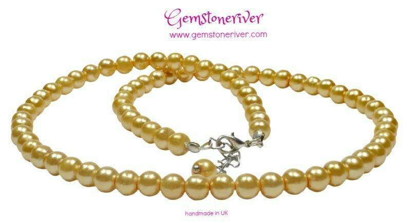 Yellow pearl necklace earrings set - Bridesmaids flowergirl birthday party jewellery handmade UK Gemstoneriver