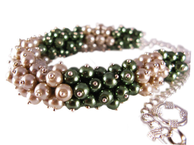 Olive Green & Beige Taupe Pearl Cluster necklace set - Olivia