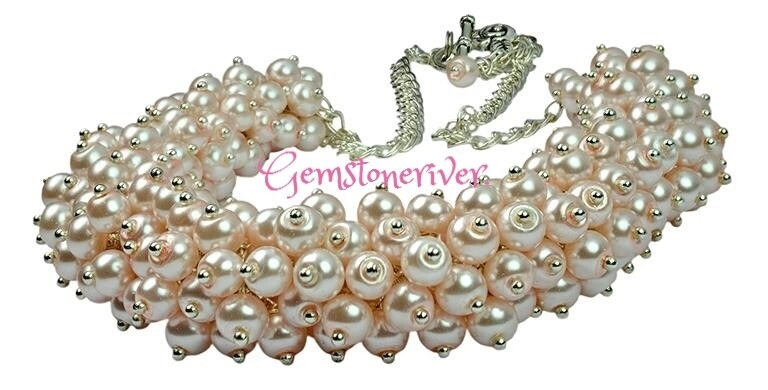 Baby pink pearl cluster necklace & earrings set