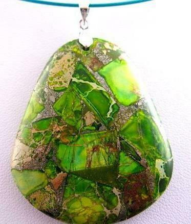 Unique Green, Lime & Speckled Golden Sea Sediment Jasper Pyrite Ooak Bold Chunky Gemstone Pendant