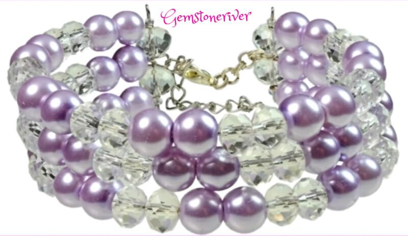 B44 Crystal Quartz, Light Purple/Lilac Pearls TAMMY- Multi-strand, Flexible Cuff Bracelet Earring SET, Party, Chunky, Bridesmaids Holiday Jewelry
